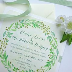 Green Leaf Garland Wedding Invitation
