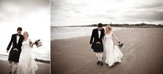 Newlyweds on the beach at St Andrews - Archibald Photography