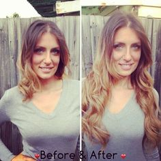 Before & After - Clip in hair extensions from www.envymyhair.com.au