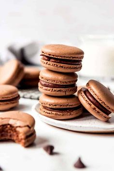 These indulgent Chocolate Macarons are filled with chocolate ganache and easier to make than you would think! Don't be intimidated by this French dessert. Macarons, Macaron Cookies, Macaron Recipe, French Sweets, Classic French Desserts, French Macaroon Recipes, French Macaroons, French Chocolate, Decadent Chocolate