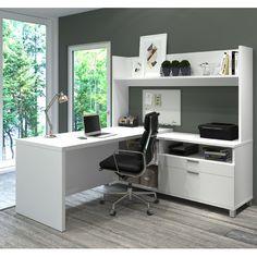 Bestar Pro-Linea L-Desk with Open hutch in White – Creative Home Office Design Office Desk With Hutch, L Shaped Office Desk, L Desk, L Shaped Desk, Home Office Desks, Home Office Furniture, Furniture Deals, Luxury Furniture, Work Desk