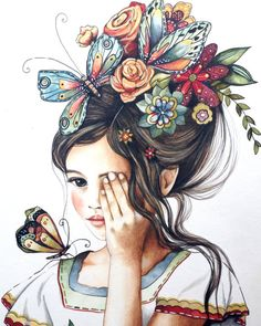 flowers in her hair..