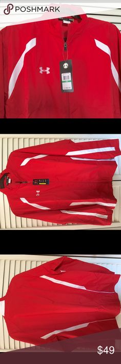 NWT Men's Under Armour Bright Red Windbreaker L What a sharp looking jacket! Bright cardinal red is set off with white inserts. Zip up front and zip pockets. 100% easy care polyester. Inside is lined with mesh. Brand-new with tags, men's size large.  Buy now for spring and save a bunch  Under Armour Jackets & Coats Windbreakers