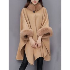Faux Fur Collar Frayed Trim Plain Batwing Sleeve Coat ($48) ❤ liked on Polyvore featuring outerwear, coats, faux fur collar coat, faux fur coat, pattern coat, beige faux fur coat and print coat