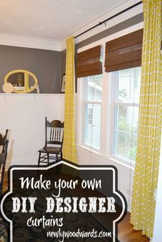 Make your own designer curtains for a fraction of the cost.    These curtains were made with Dwell Studio fabric. The end result is the same polished look as the ones you find at Crate & Barrel at a fraction of the cost.