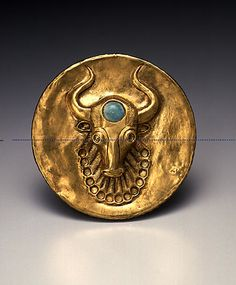 Western Asiatic Gold Lid with a Head of a Bearded Bull with Turquoise Inlay    Gold with turquoise inlay, 3rd-2nd millennium B.C.E., western central Asia