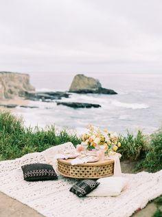 Bohemian Coastal Elopement Inspiration — Napa and Destination Wedding Photographer Picnic Date, Beach Picnic, Summer Picnic, Boho Beach Wedding, Forest Wedding, Wedding Decor, Wedding Ceremony, Film Structure, Picnic Decorations