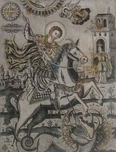 Happy St. George's Day! Saint George And The Dragon, San Giorgio, St George's, Byzantine Icons, Berserk, Galleries, United Kingdom, Sculpting, Catholic