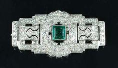 An art deco emerald and diamond plaque brooch, circa 1930