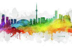 Digital abstract drawing of Toronto, Ontario Watercolor Cityscape. Toronto Skyline, Toronto City, Canvas Art, Canvas Prints, Framed Prints, Skyline Painting, Abstract Drawings, Wood Print, Ontario