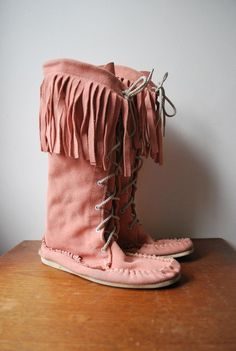 vintage pink moccasin boots ~sold to me! #etsy