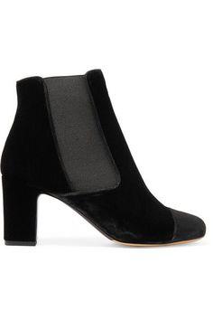 5a9aeb8ad245 Tabitha Simmons - Micki nubuck-paneled velvet ankle boots