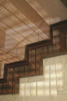 Mesh stair detail on fixed geometric stringer. Top lit where no storage below? Stair Steps, Stair Railing, Railings, Architecture Details, Interior Architecture, Stairs To Heaven, Escalier Design, Metal Facade, Steel Stairs
