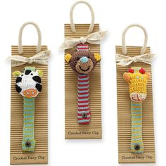 Whimsical crochet pacy clips feature soft monkey, zebra, and giraffe padded heads with striped crochet bands and easily fasten to baby's outfit for added style and function. Each style sold separate. Arrives on display card. Crochet Zebra, Love Crochet, Knit Crochet, Crochet Pacifier Holder, Dummy Clips, Craft Sale, Baby Knitting, Crochet Projects, Baby Gifts