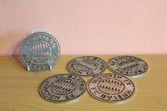 Vintage FC Bayern Munich Munchen Germany Football Soccer Drink Beer Coasters Set of 5 Metal Bier Coasters by Grandchildattic on Etsy