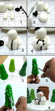 39 New Ideas For Cupcakes Decoration Diy Tutorials Decorating Ideas Christmas Cake Designs, Christmas Cake Decorations, Christmas Cupcakes, Holiday Cakes, Christmas Treats, Christmas Cake Topper, Christmas Desserts, Fondant Toppers, Fondant Cakes
