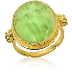 Tagliamonte Three Graces - 18K Gold Green Mother of Pearl Cameo Ring ($838) ❤ liked on Polyvore