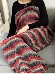 Crochet Knit Ombre Striped Chunky Mermaid Blanket Throw - RED Mobile
