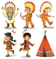 Illustration about Illustration of american red indians. Illustration of illustration, outfit, housing - 48026308 Cute Cartoon Drawings, Cartoon Kunst, Cartoon Art, Cartoon Characters, Indian Illustration, People Illustration, Logo Rond, Indiana, Indian Drawing