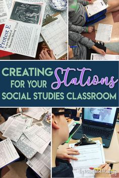 I'm a huge fan of utilizing stations to teach skills and reinforce content. I've created a list of five common questions relating to stations activities, and hopefully, I've provided some answers. Social Studies Notebook, 6th Grade Social Studies, Social Studies Classroom, Social Studies Activities, Teaching Social Studies, History Teachers, Teaching History, History Education, Us History