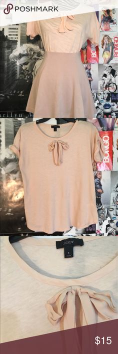 J Crew -Blush Cotton Bow Tee Small Blush Bow Tee - Worn Once - 100% Cotton J. Crew Tops Tees - Short Sleeve