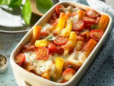 Creamy pasta bake with tomatoes and mozzarella from Katrini .- Creamy pasta bake with tomatoes and mozzarella from Katrinili Noodle Casserole, Casserole Recipes, Vegetable Drinks, Vegetable Dishes, Creamy Pasta Bake, Pasta Cremosa, Vegetarian Recipes, Healthy Recipes, Quick Recipes