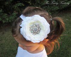 White Flower Headband, Lush Silk Flower w/ Jumbo Rhinestone Center Headband or Clip, Baptism, Christening, Baby Child Girls Headband on Etsy, $10.50