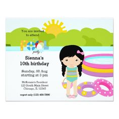 Pool Party Invitations Pool Party girl Card