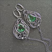 Плетёные серьги с зелёным кварцем