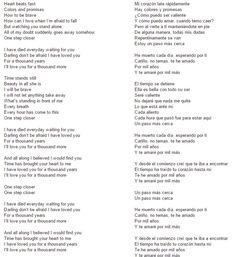 Thousand years lyrics in spanish