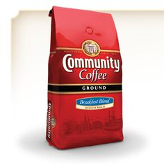Community Coffee Breakfast Blend -  This extraordinarily aromatic and medium-roasted coffee blend produces a fragrant, sweet and mellow cup of coffee. Made with 100% Arabica premium and specialty coffee beans.