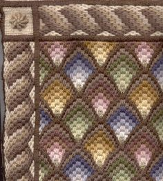 "Close-up of ""Muted Shells"" Needlepoint/Bargello kit."