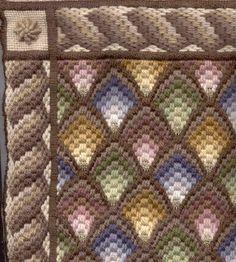 "Close-up of ""Muted Shells"" Needlepoint/Bargello kit."