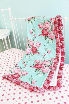 BumperlessBaby Crib Bedding Shabby Chic Roses by LottieDaBaby