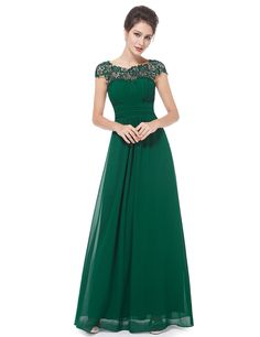 "<ul>   <li>    Elegant evening dress</li>   <li>    Padded enough for ""no bra"" option</li>   <li>    Lacey neckline decorated with rhinestones enhances the elegance of this dress</li>   <li>    Sexy open back and ruched bust design</li>   <li>    Concealed zipper up the back</li>   <li>    Lining,no stretch</li>  </ul>"