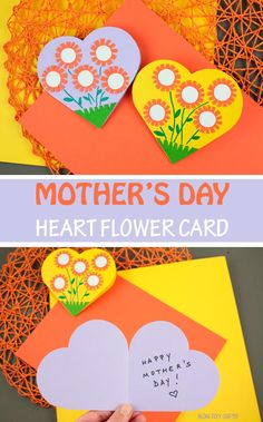 Mother's Day Heart Flower Card For Kids - Printable Template