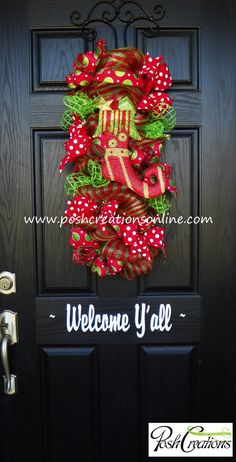 Whimsical Door Swag Christmas Swag Christmas by PoshcreationsKY