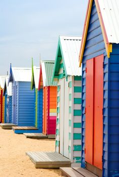 Beach Boxes on Brighton Beach. Brightly Coloured Beach Boxes on Brighton Beach, , Beach Cabana, Beach Bum, Summer Colors, Summer Fun, Summer Beach, Deco Marine, Beach Shack, Beach Cottages, Arquitetura