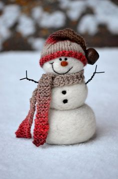 Needle Felted wool Snowman  hand spun/hand knit by BearCreekDesign