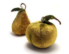 Velvet Fruit! Vintage Apple Pear Velvet Stuffed Green Pin Cushion Fruit. $16.00, via Etsy.