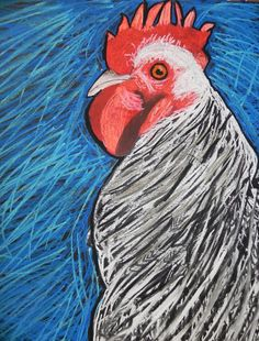 Bought a photo book with all kinds of great pictures of Roosters and Hens. The children choose their favorite. They drew it on Black Foam Core and used chalk pastels. Ages 4 to High School age did this project.