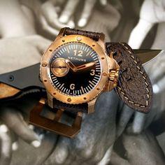 Nethuns Bronze Diver with Sub Sec, Black dial.