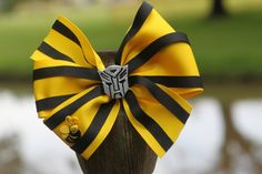Bumblebee Autobot Transformer Girls' Hair Bow Hair Clip by OurPeachBlossoms on Etsy