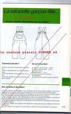 Patron schémas de la Salopette carreaux 5X5cm. le modele : description : plan de coupe : assemblage/montages :