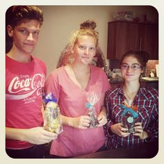 George King and his sister and cousin making chocolates