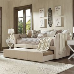Save space with this sophisticated HomeVance Myra daybed. Daybed Room, Daybed With Trundle, Daybed Bedding, Twin Bedroom Sets, Guest Bedrooms, Guest Room, Teen Bedroom, Traditional Sofa, Bedroom Sets