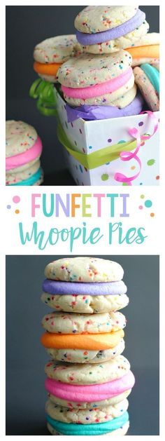 Funfetti Cookies from a Cake Mix-Funfetti Whoopie Pies. These cookies are so fun and bright. They are also so yummy! Funfetti Cookies from a Cake Mix-Funfetti Whoopie Pies. These cookies are so fun and bright. They are also so yummy! Funfetti Cookies, Cookies Et Biscuits, Cake Cookies, Cupcake Cakes, Yummy Cookies, Sandwich Cookies, Muffin Cupcake, Super Cookies, Decorated Cookies