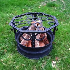 The fire pit is created using an old wheel rim and horseshoes!
