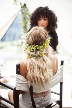 Easy bridal hair: Instead of a flower crown, try a wreath that extends around the back of your head.