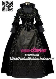 Nieuwe collectie custom made gothic victoriaanse baljurken luxe kant zwarte jurk cosplay kostuum voor halloween(China (Mainland))